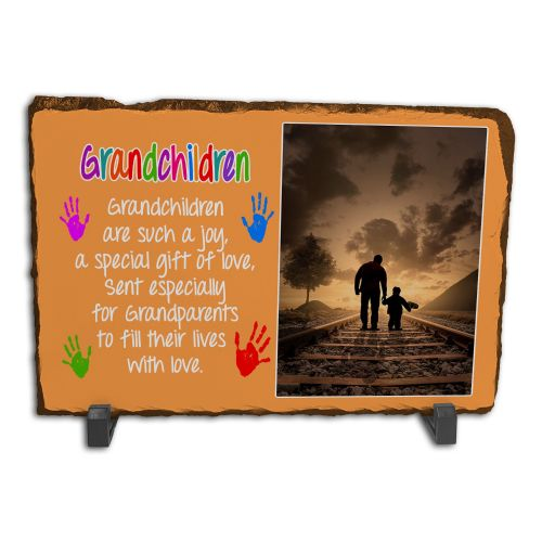 Personalised Grandchildren Are Such A Joy Rock Slate Photo Frame - Rectangle Large